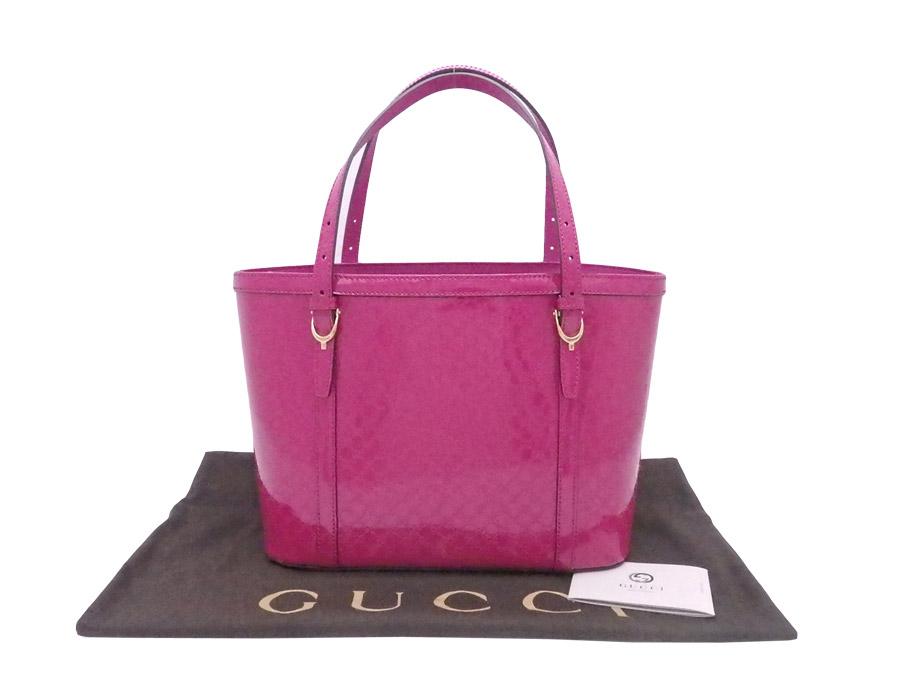 Gucci Handbag Micro Sima Nice Magenta Patent Leather X Gold Metal Ings Tote Bag 336776 E36341