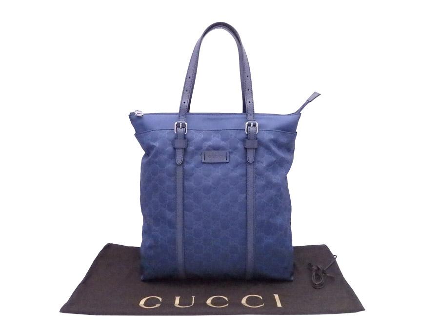 8d1ca75ce5 BrandValue: Gucci Gucci handbag GG nylon navy-blue nylon x leather tote bag  387069 - e36360 | Rakuten Global Market
