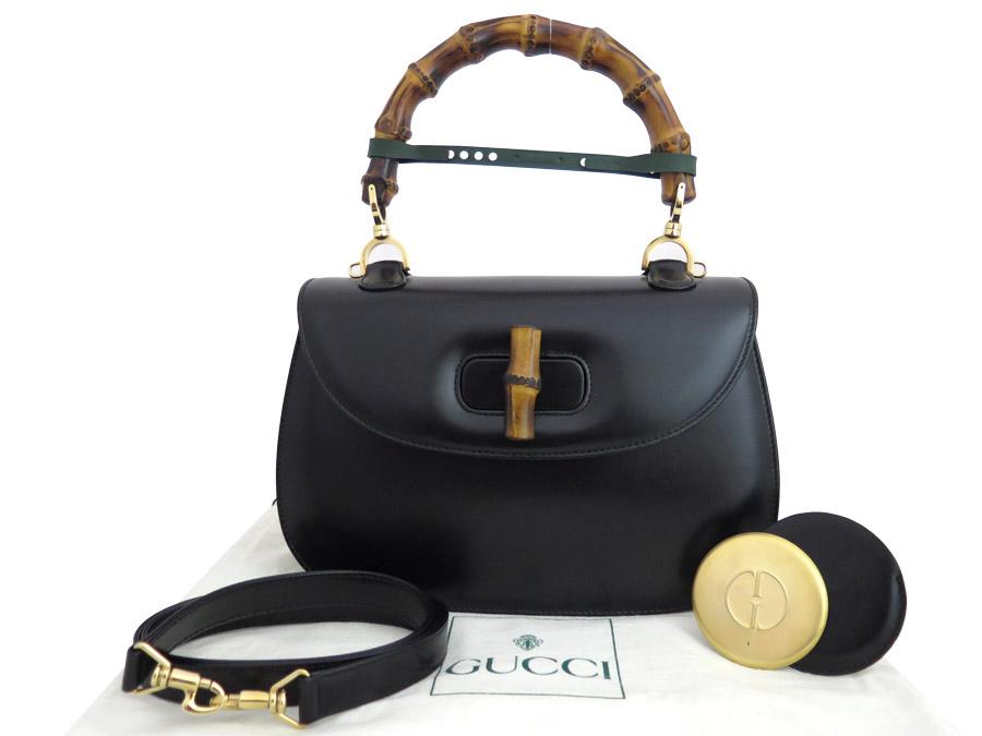 【美品】グッチ Gucci ハンドバッグ バンブー ブラック レザーxゴールド金具 ショルダーバッグ 2Wayバッグ 送料無料 【中古】 - e36398