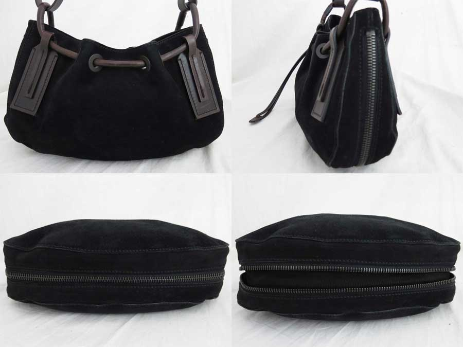 5ac9ae161d [basic popularity] [used] Gucci [GUCCI] bag shoulder bag handbag Lady's  black x dark brown suede x leather
