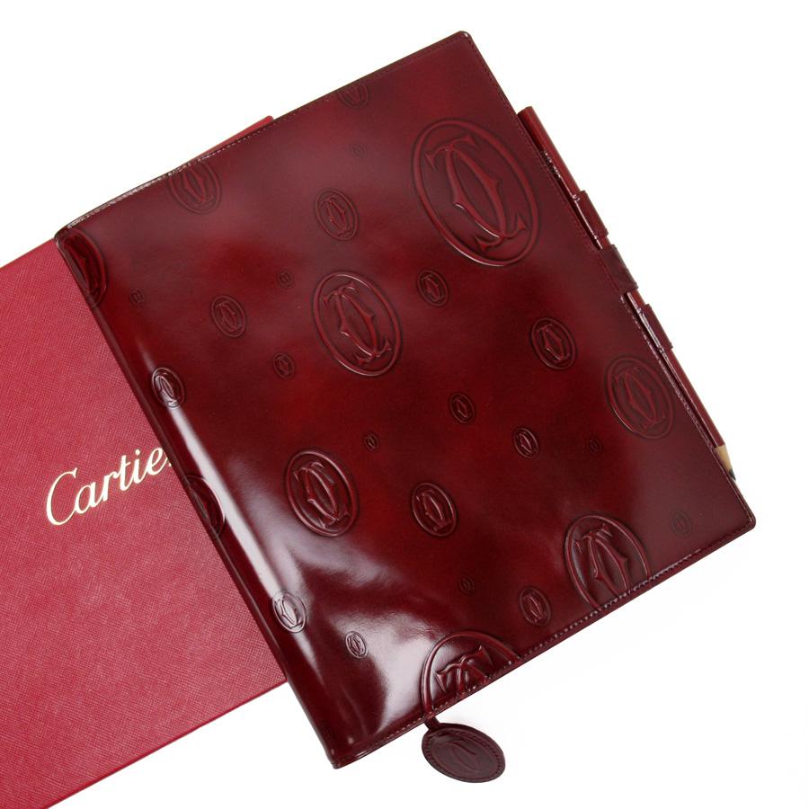 カルティエ Cartier ノートブック ハッピーバースデー ボルドー カーフ レディース 【中古】【定番人気】 - x2859