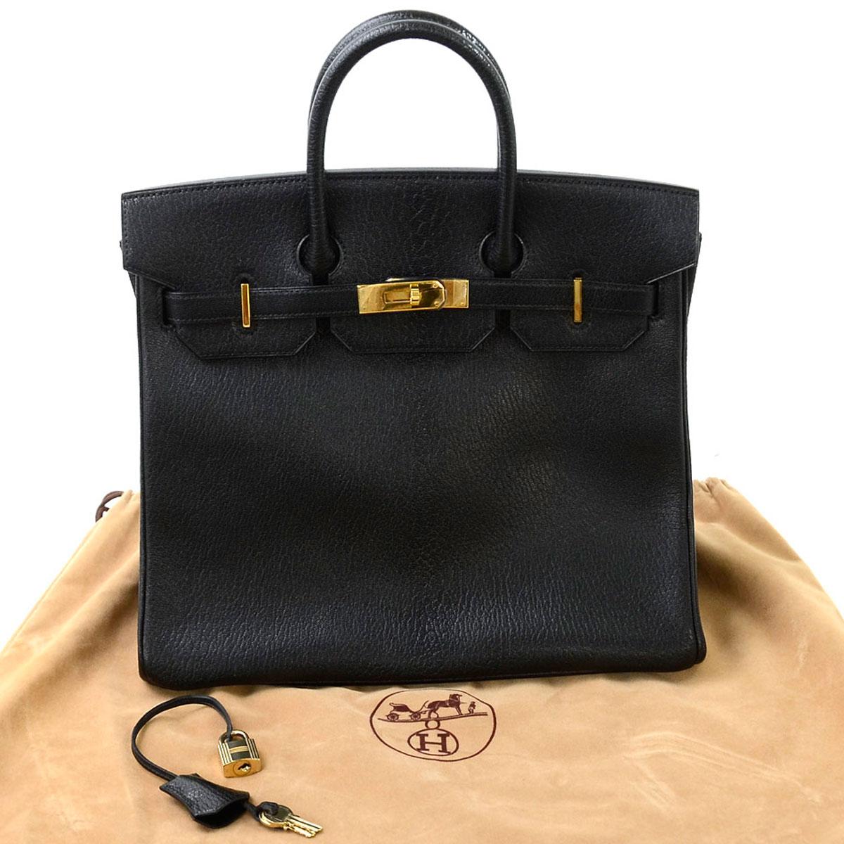 エルメス バッグ オータクロア32 ブラックxゴールド金具 コロマンデルレザー ハンドバッグ HERMES レディース メンズ 【中古】【おすすめ】 - e36071