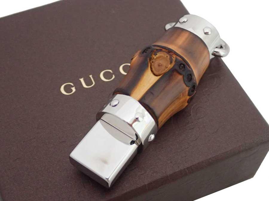 グッチ Gucci USB バンブー シルバーxブラウン 金属素材xバンブー メモリスティック チャーム レディース メンズ 【中古】【おすすめ】 - e37109