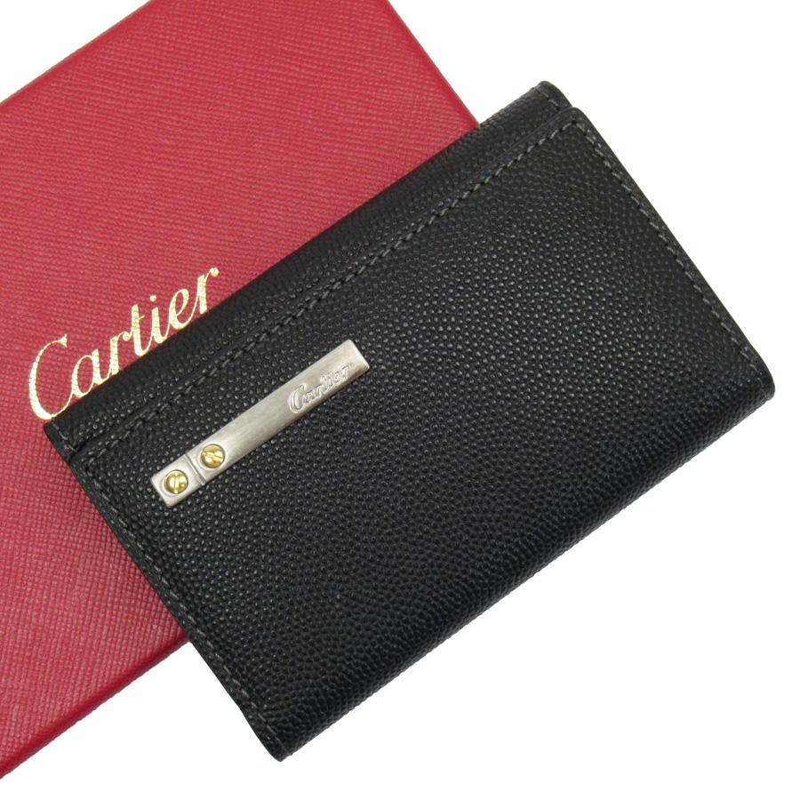 カルティエ Cartier 6連キーケース サントス ブラックxシルバーxゴールド レザー レディース メンズ 【中古】【定番人気】 - h22380