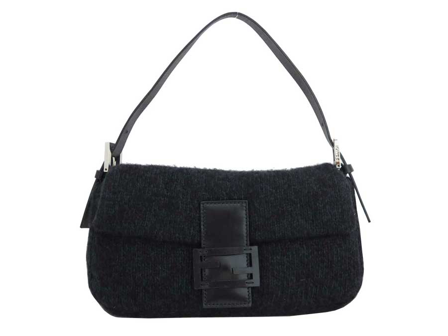 70a9cd935d ... where to buy brandvalue fendi fendi bag baguette black x silver metal  fittings cashmere x leather