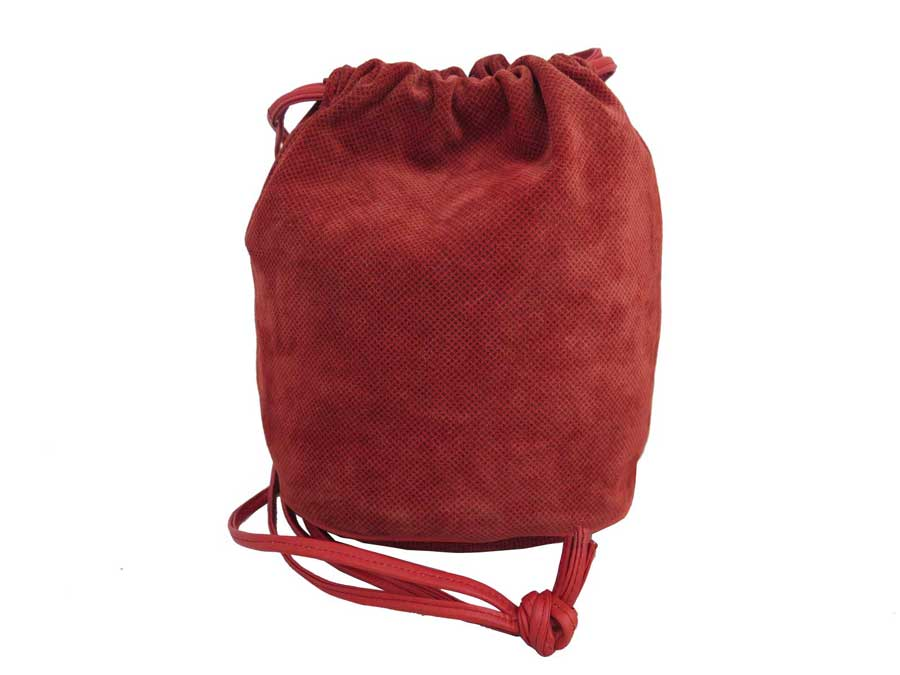 f5fd7a7057 It is ボッテガヴェネタ  BOTTEGA VENETA  bag shoulder bag drawstring purse type bag  lady men red suede x leather  soot   used