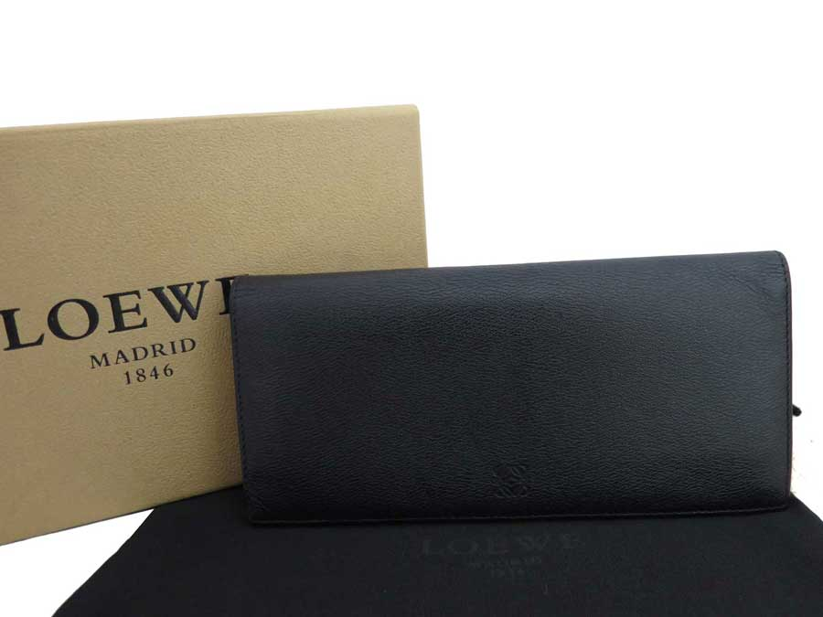 ロエベ LOEWE 財布 アナグラム ブラック レザー 二つ折り長財布 ロングウォレット レディース メンズ 【中古】【おすすめ】 - e37568