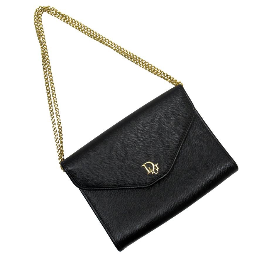 クリスチャンディオール Christian Dior ショルダーバッグ ブラックxゴールド レザーx金属素材 レディース 【中古】【おすすめ】 - h22811