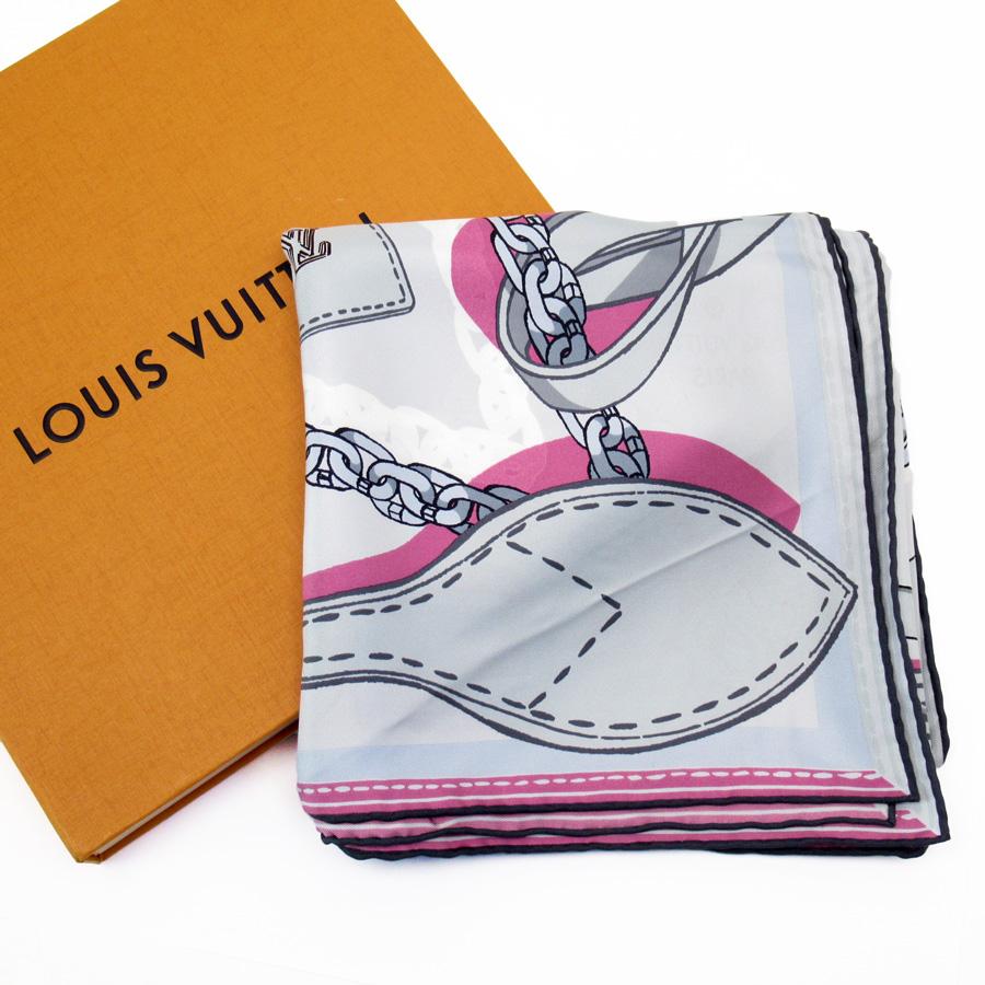 ルイヴィトン Louis Vuitton スカーフ グレーxピンク シルク100% レディース 【中古】【定番人気】 - h22961