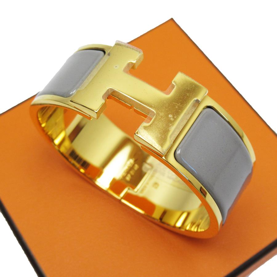 【新品同様】エルメス HERMES ブレスレット バングル クリッククラックH グレーxゴールド 金属素材xエナメル レディース 【中古】 - h22962