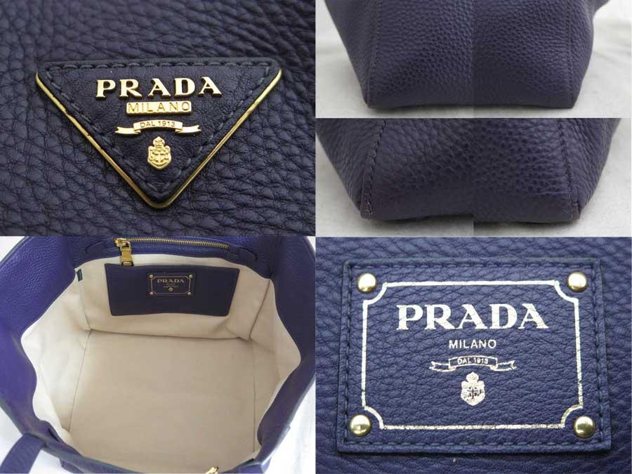 e7e92716dcd3 [basic popularity] [used] Prada [Prada] logo bag shoulder bag tote bag  Lady's purple x gold metal fittings leather