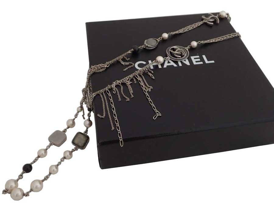 4c47f0758 BrandValue: Chanel CHANEL necklace here mark silver x black metal material x  stone x fake pearl chain necklace long necklace Lady's - e37817 | Rakuten  ...