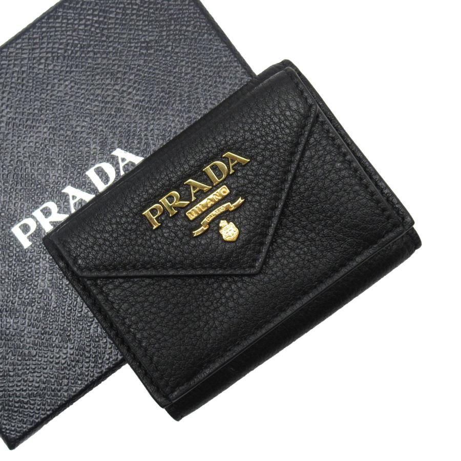 【新品同様】プラダ PRADA 三つ折り財布 ブラック xゴールド レザー レディース 【中古】 - x3056