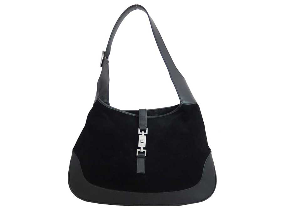 4e512d2858 BrandValue: Gucci Gucci bag Jackie black x silver metal fittings suede x  leather shoulder bag one shoulder Lady's - e37993 | Rakuten Global Market