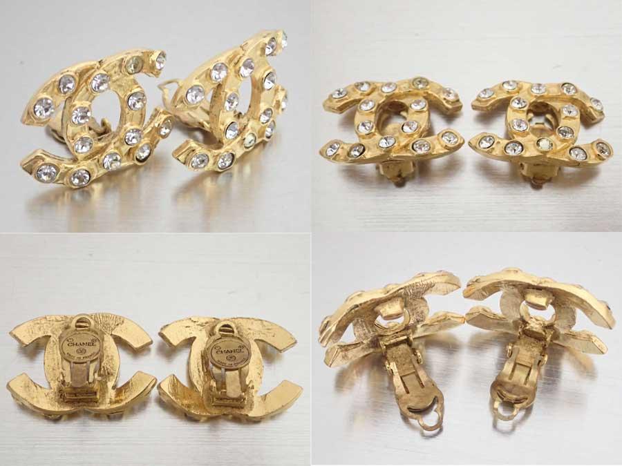 803f54604fd7 【おすすめ】 【中古】シャネル【CHANEL】ココマーク イヤリング ロゴイヤリング ゴールドイヤリング レディース ゴールド 金属素材xラインストーン