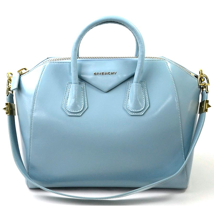 c8c02b555ab5 It is Givenchy  GIVENCHY  アンティゴナミディアムハンドバッグショルダーバッグ 2Way bag lady light  blue x gold metal fittings leather  soot   used