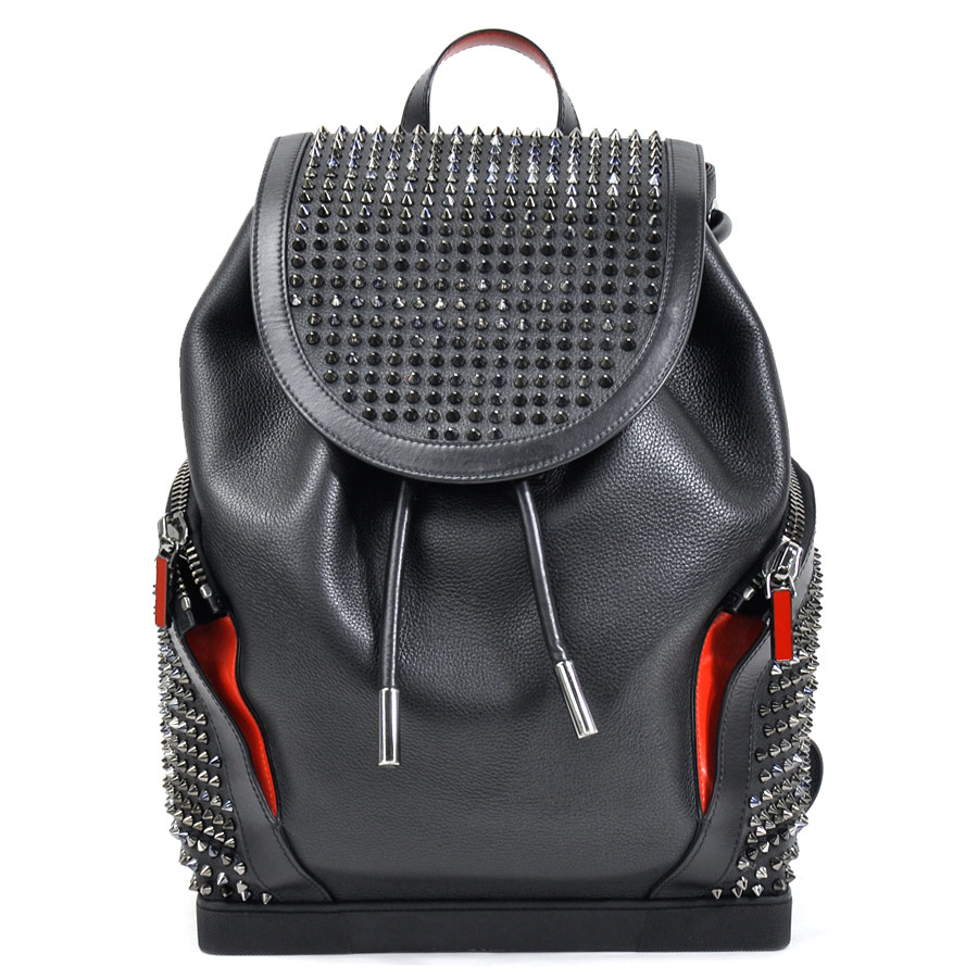 7fa0b0b71ff9  beautiful article  It is クリスチャンルブタン  Christian Louboutin  Explorer funk  EXPLORAFUNK spikes studs rucksack backpack Lady s men black x red leather  ...