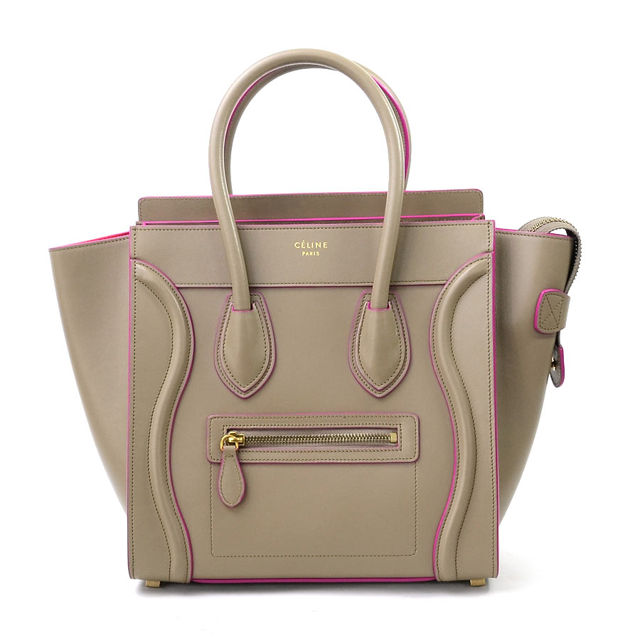 c79ec33f167f  beautiful article  Luggage micro shopper handbag tote bag Lady s beige x  pink x gold metal fittings leather in the fall and winter  used  latest  Celine ...