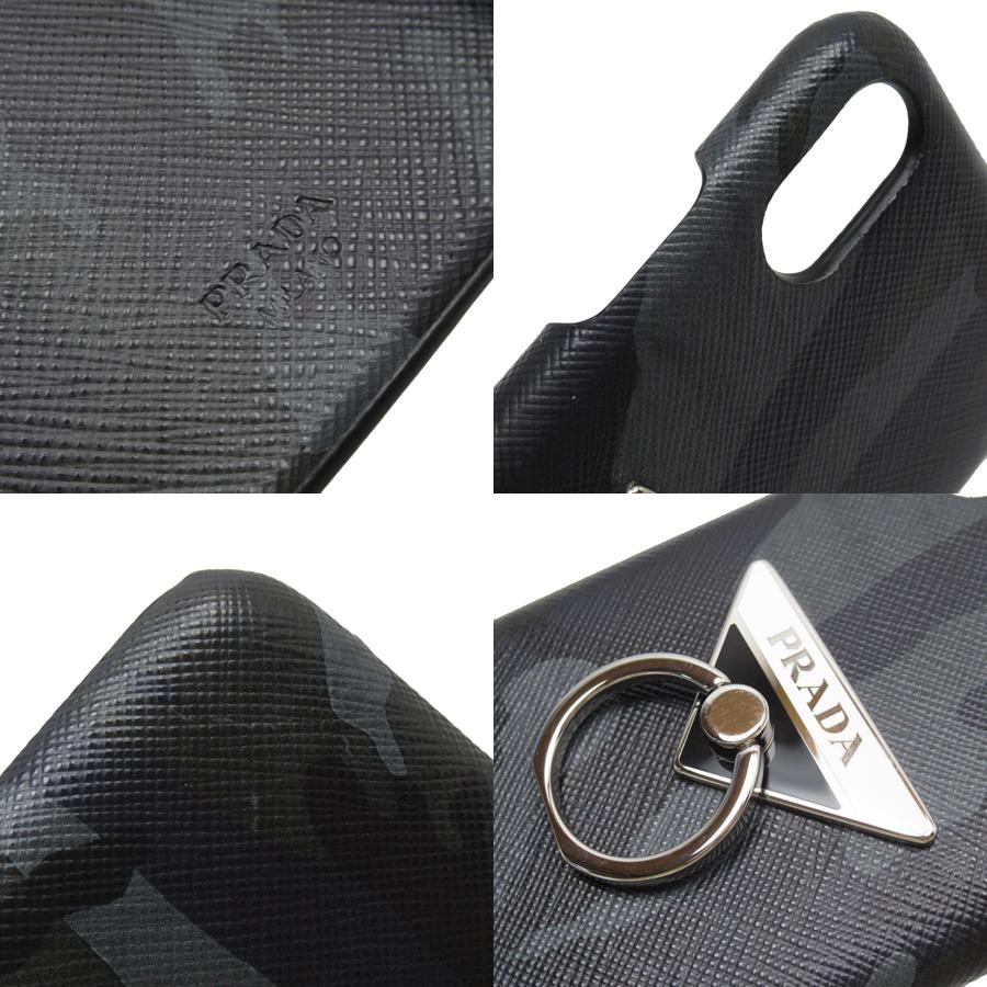 プラダ PRADA iPhone XS Maxケース 三角ロゴ カモフラ ブラックxグレーxホワイトxシルバー サフィアーノレザーx金属素材 レディース メンズ定番人気h23563bYbfgyv76