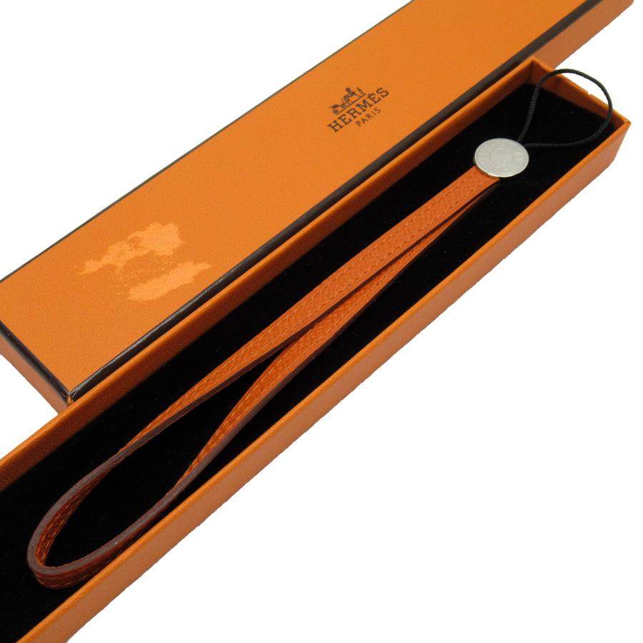 【未使用】【新品】エルメス HERMES ストラップ オレンジxシルバー レザー レディース メンズ - x3130b