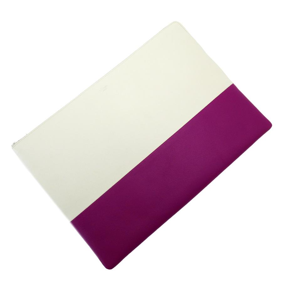 セリーヌ CELINE クラッチバッグ ホワイトxパープル レザー レディース 【中古】【おすすめ】 - x3140