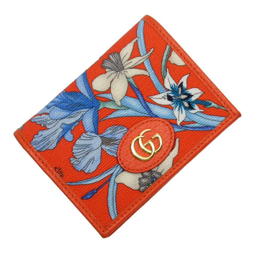 グッチ GUCCI 二つ折り財布 フローラ プリント オレンジxブルーxグレーxゴールド キャンバスxレザー レディース 【中古】【定番人気】 - 51955c