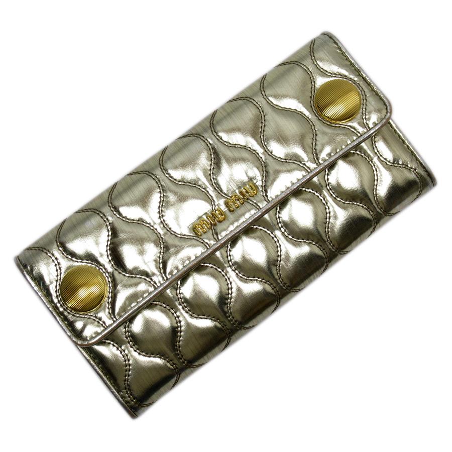 ミュウミュウ MIUMIU 長財布 キルティング ゴールド PVC レディース 【中古】【定番人気】 - h23781