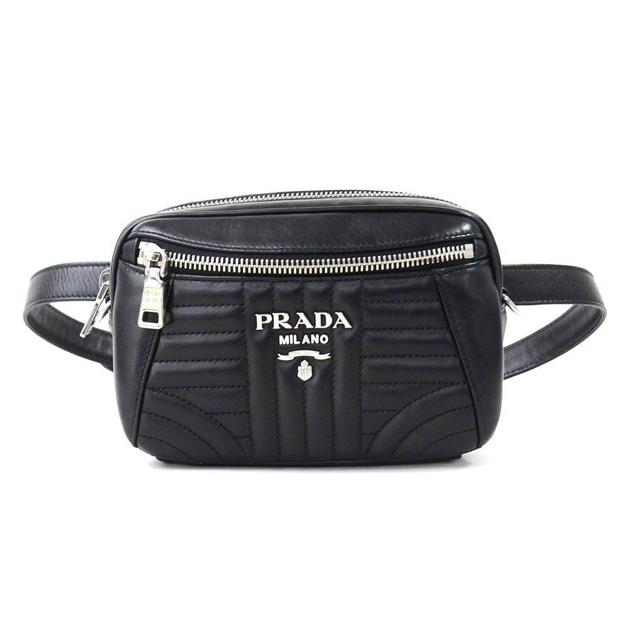 e76f1129fed190 BrandValue: Prada PRADA waist porch diagram black leather bum-bag Lady's  1BL006 -95,967 | Rakuten Global Market