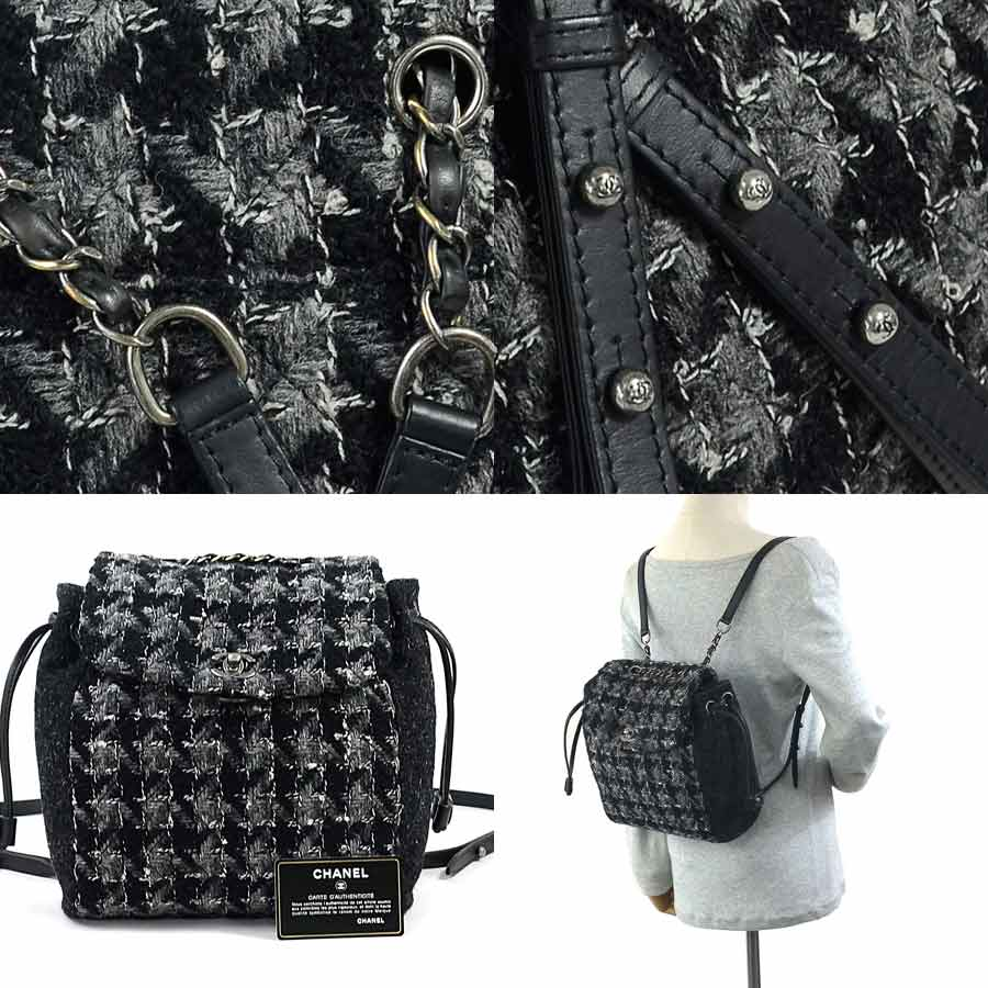 cf6e412b04c7 [basic popularity] [used] Chanel [CHANEL] here mark rucksack backpack  Lady's black x gray wool x leather