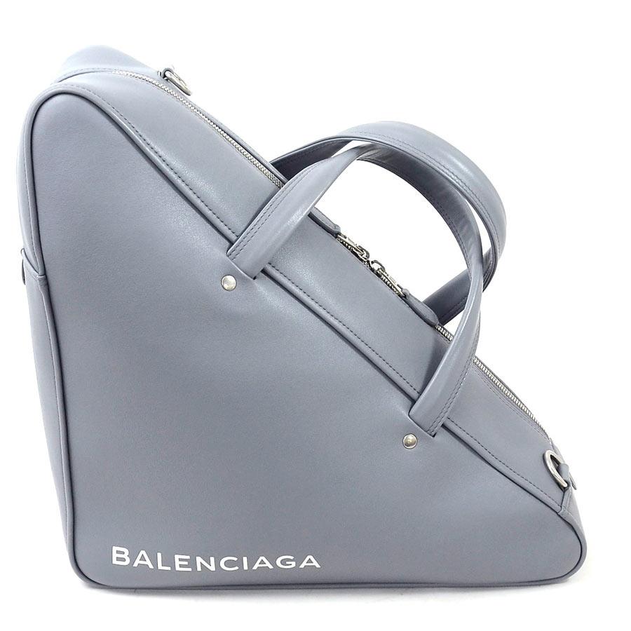 【美品】バレンシアガ ハンドバッグ ショルダーバッグ 2Wayバッグ トライアングル ダッフルM グレーxホワイト レザー BALENCIAGA レディース 値下げ商品【中古】 - d95357