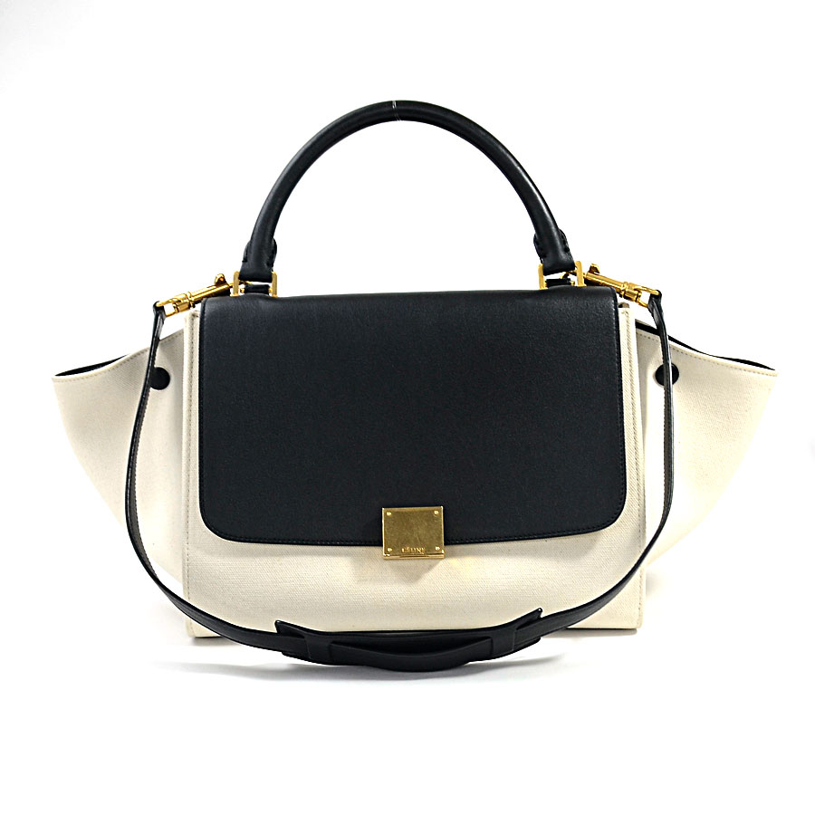 Celine Handbag Shoulder Bag 2way Tze Small Black X White Canvas Leather Lady S 174682aeg 01bc Reduction In Price Product I0257