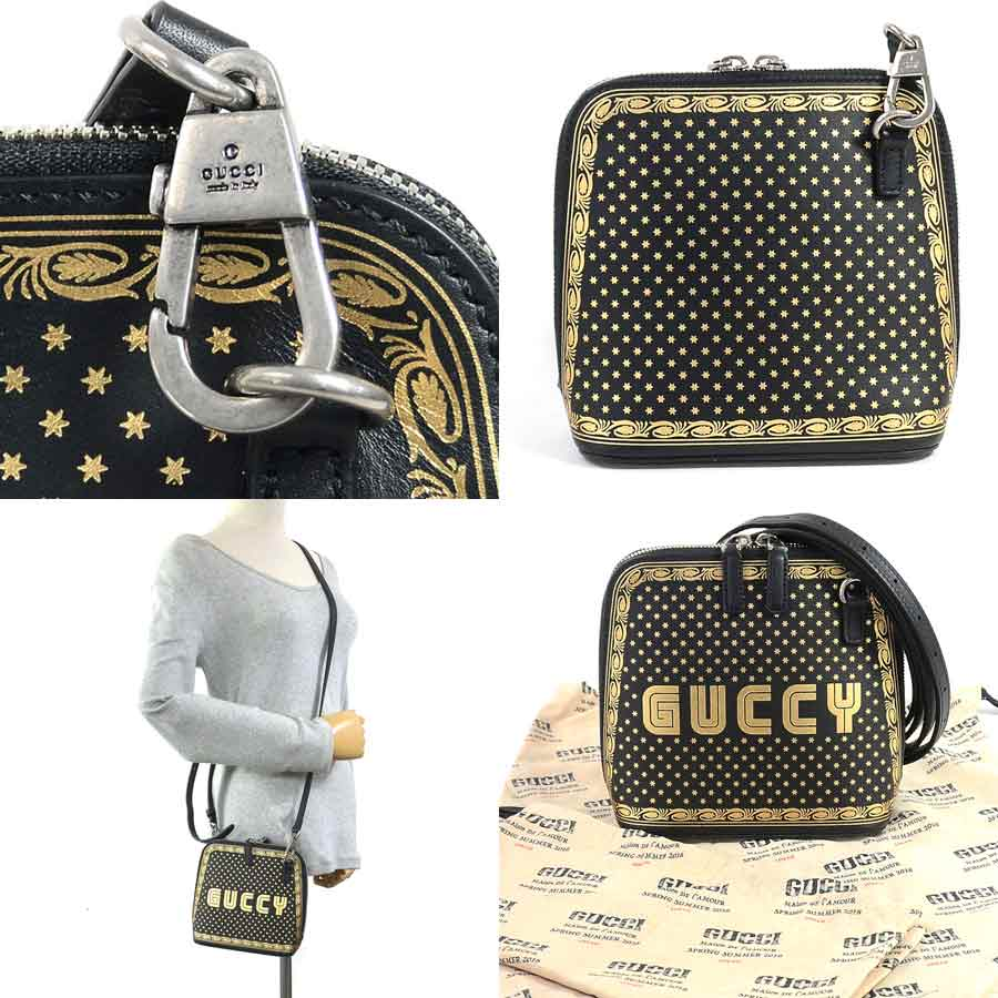 c36d764c79 [beautiful article] Take Gucci [GUCCI] GUCCY print slant [used]; shoulder  bag Lady's black x gold leather