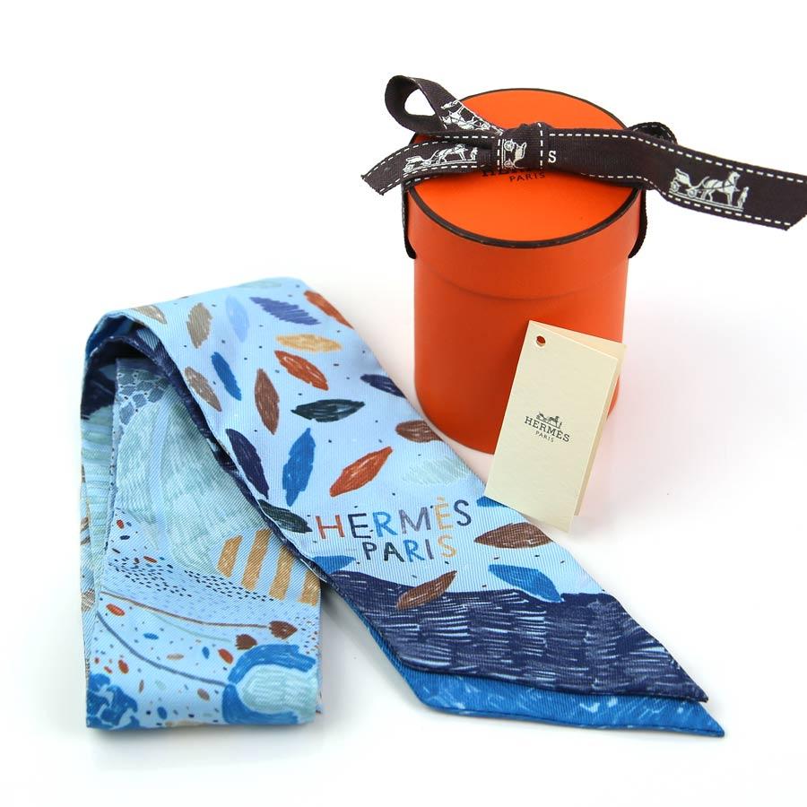 エルメス ツイリー スカーフ ツイリー ブルー系 シルク100% HERMES レディース 【定番人気】 - y13617