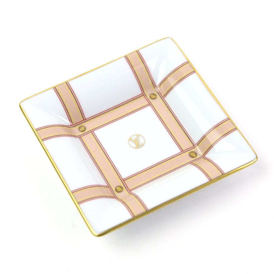 【美品】ルイヴィトン 小皿 ホワイトxベージュxゴールド 陶器 Louis Vuitton レディース メンズ 【中古】 - y13629