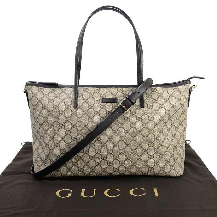 ba72470b68 [beautiful article] It is Gucci [GUCCI] GG スプリームショルダーバッグトートバッグ 2Way Lady's  beige x dark brown GG スプリームキャンバス x leather [used]