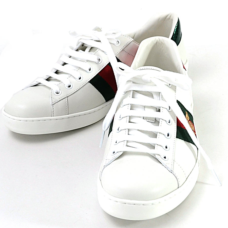 Sneakers white x green x red x gold leather GUCCI men 429,446,96,409 with  the Gucci shoes sneakers Web Bee [ace] embroidery