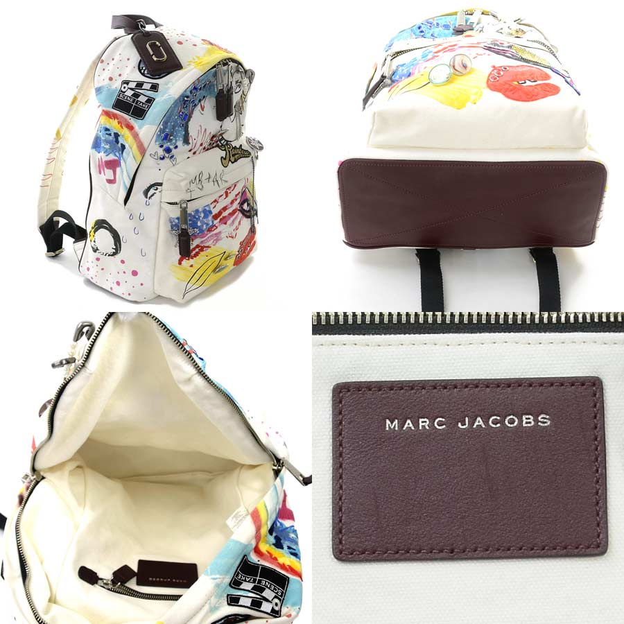 ee22ba6060 [beautiful article] It is a mark Jacobs [MARC JACOBS] paint rucksack  backpack lady's off-white system x multicolored canvas x stone x metal  material [used]