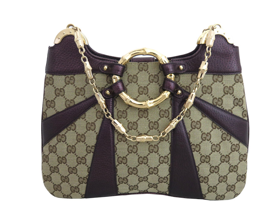 c374a948f90 ...  used  Gucci  GUCCI  Tom Ford collaboration metal bamboo bag shoulder  bag chain shoulder Lady s beige x purple x gold metal fittings canvas x  leather