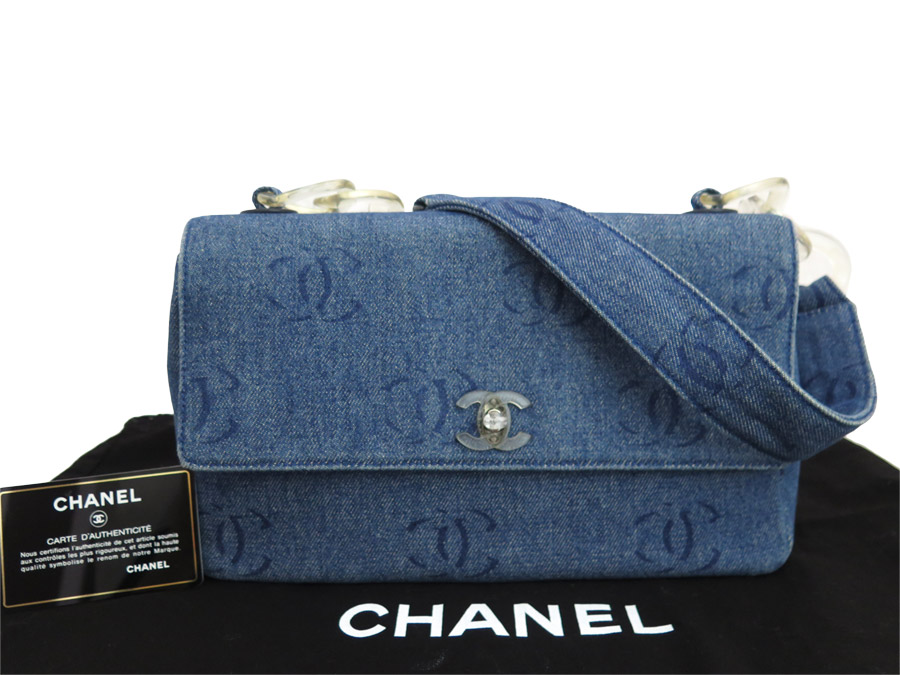 ebe677b2141b Brandvalue Chanel Bag Here Mark Blue X Clear Denim Plastic