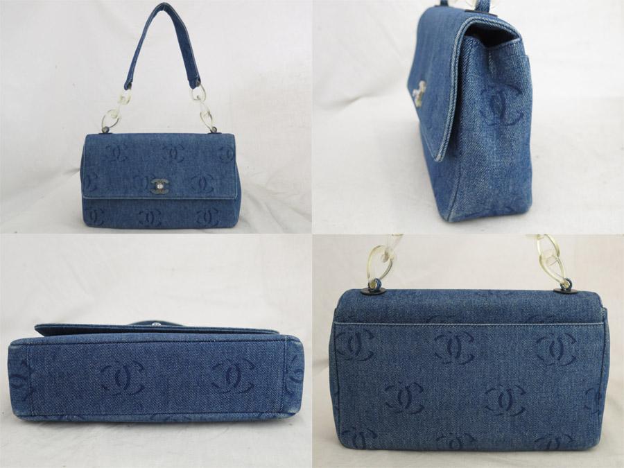 470518fdb845 ... Chanel CHANEL bag here mark blue x clear denim x plastic shoulder bag  denim bag lady ...