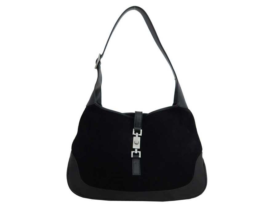 b36447b925 BrandValue: Gucci Gucci bag Jackie black x silver metal fittings suede x  leather shoulder bag one shoulder Lady's - e38095 | Rakuten Global Market