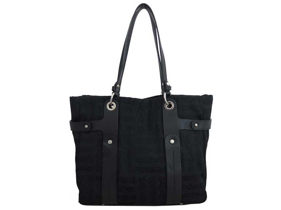 faa73ee3e414 BrandValue: Salvatore Ferragamo Salvatore Ferragamo bag logo black x silver metal  fittings canvas x leather tote bag shoulder bag Lady's - e38099 | Rakuten  ...