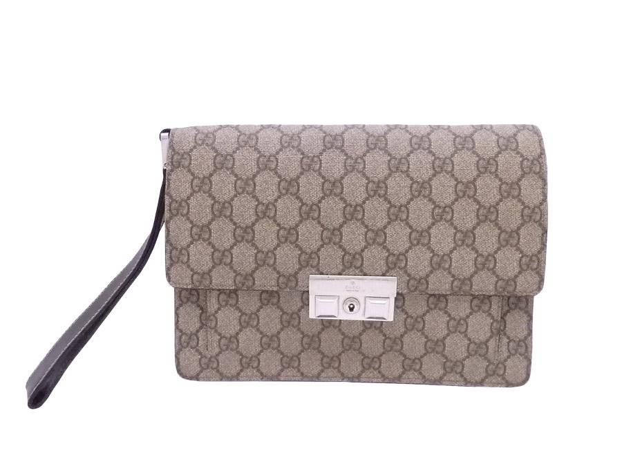5efd300fade  basic popularity   used  Gucci  Gucci  GG スプリームクラッチバッグブラウン PVCx leather