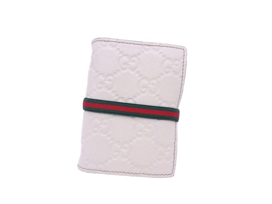 グッチ Gucci コインケース グッチシマ ホワイト レザー カードケース 【中古】【定番人気】 - e37070