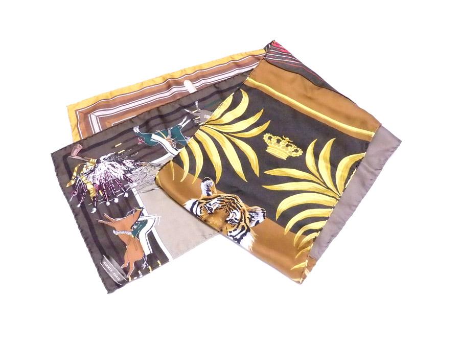 エルメス HERMES ストール ブラウンxマルチカラー 100% シルク スカーフ 【中古】【おすすめ】 - e37219