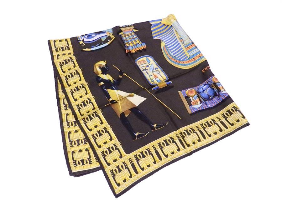 エルメス HERMES スカーフ カレ 90 Tutankhamun ブラウンxマルチカラー 100% シルク 【中古】【おすすめ】 - e37221