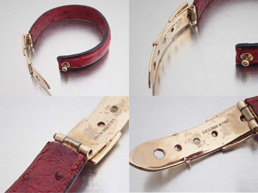 92069af0d622e Gucci Gucci bracelet belt motif red x gold metal fittings ostrich leather x  metal material bangle leather breath Lady's - e38487