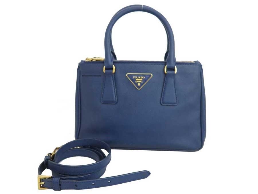 3cd023489903cc BrandValue: Prada PRADA 2way bag logo navy-blue x gold metal fittings  サフィアーノレザーハンドバッグショルダーバッグレディース - e38544 | Rakuten Global ...