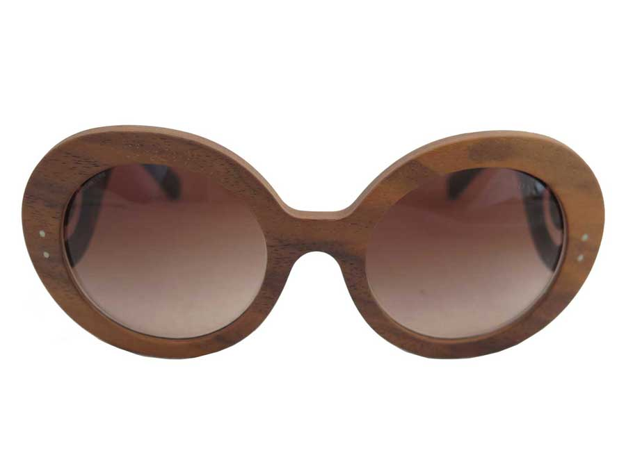 Prada Prada Sunglasses Logo Brown X Blackwood X Plastic Fashion Sunglasses Wood Glass Ladys E38569