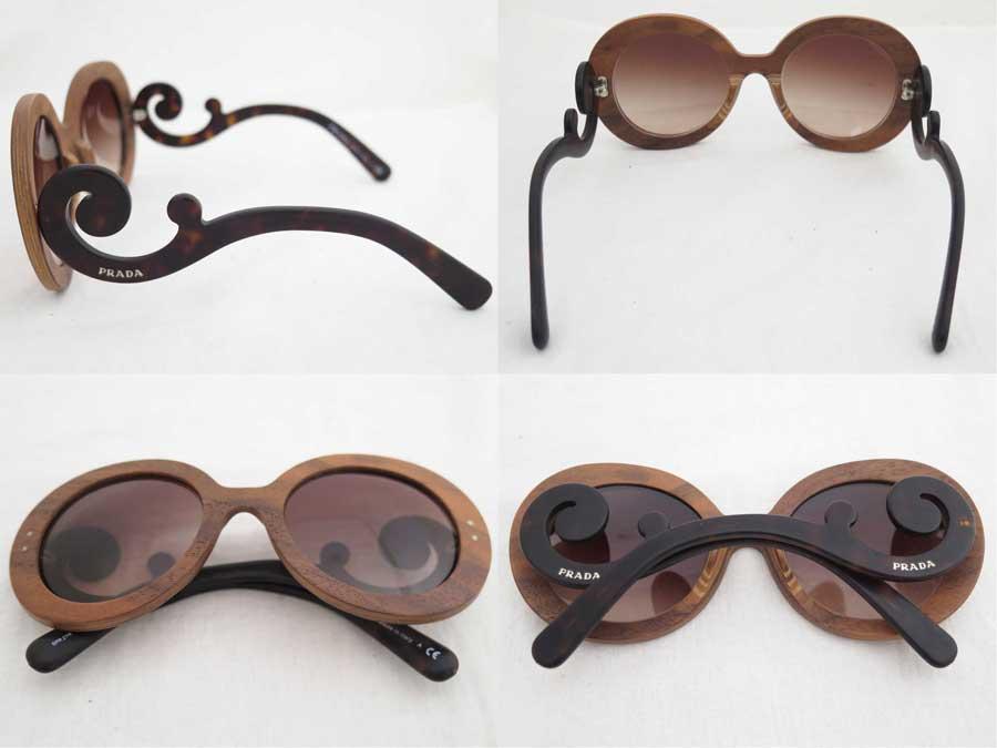 8be3b2147bfd It is Prada [PRADA] logo sunglasses fashion sunglasses Wood glass Lady's  brown x blackwood x plastic [soot] [used]
